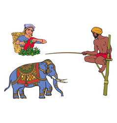 Sri-lanka india symbols set isolated vector