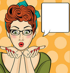 Surprised pop art woman comic woman with speech vector