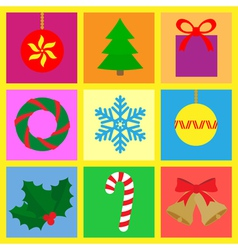 symbols with a christmas theme vector image