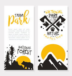 taiga national park card template with space for vector image