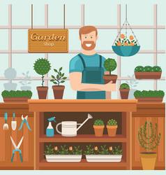 the seller in store gardening vector image