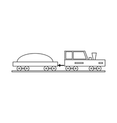 Trailer truck icon outline style vector image