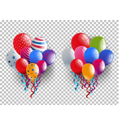 two bunches of colorful balloons on transparent vector image
