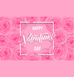 valentines day floral greeting card pink roses vector image