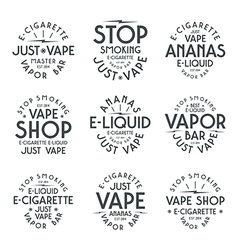 Vapor bar and vape shop typographic labels vector