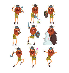 Viking cartoon characters set scandinavian vector