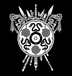 viking design viking shield and swords set of vector image