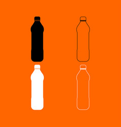 water plastic bottle black and white set icon vector image