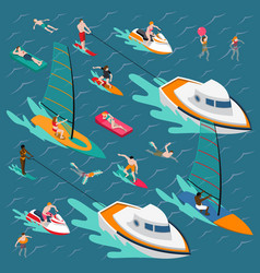 Water sports colored people composition vector