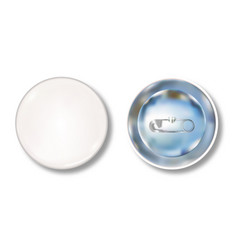 white pin button front and back side vector image