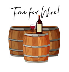 Wine glass and bottle on barrels vector