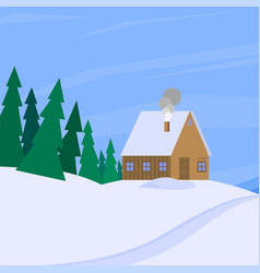 winter landscape with christmas tree mountain vector image vector image