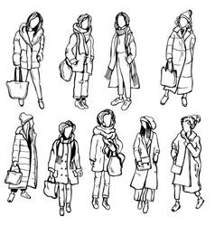 Winter womens fashion hand drawn girls on white vector