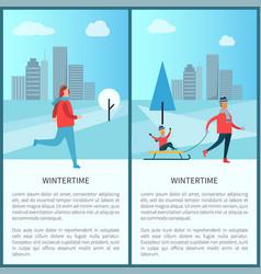 Wintertime family running man vector