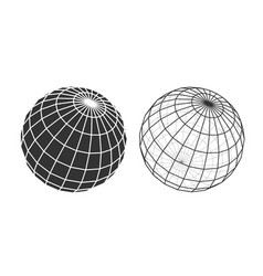 wireframe and silhouette a globe with vector image