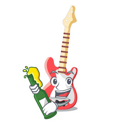 with beer electric guitar isolated with the mascot vector image