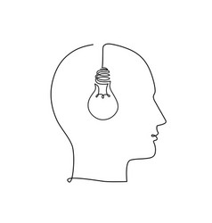 with human head and light bulb trendy concept of vector image