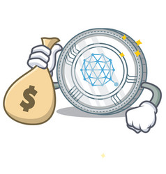 with money bag qtum coin character cartoon vector image