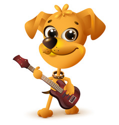 Yellow dog playing guitar vector