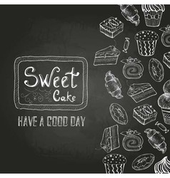 Chalk drawing Decorative sketch of cakes Menu vector image