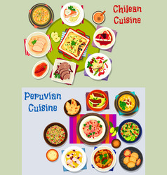chilean and peruvian healthy food icon set vector image