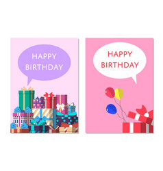 happy birthday greeting card design set vector image