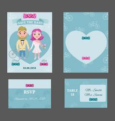 colorful wedding invitations postcards set vector image