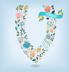 floral letter v with blue ribbon vector image vector image