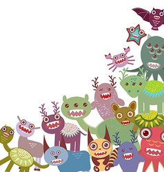 Funny monsters Big collection on white background vector image vector image