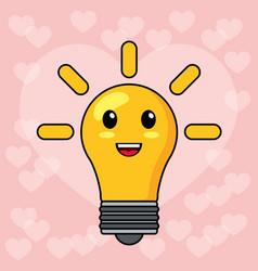 kawaii bulb light smile vector image