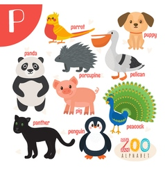 Letter P Cute animals Funny cartoon animals in vector image