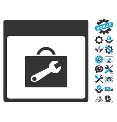 Toolbox Calendar Page Icon With Bonus vector image vector image