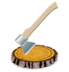 axe and a wooden cut vector image vector image