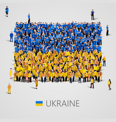 large group of people in the ukraine flag shape vector image