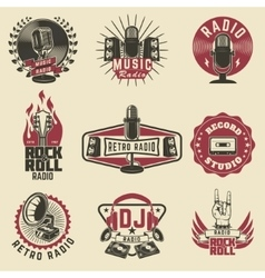 Radio labels Retro radio record studio rock and vector image vector image