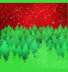 winter landscape red and green background vector image vector image