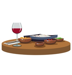asian food and wine vector image