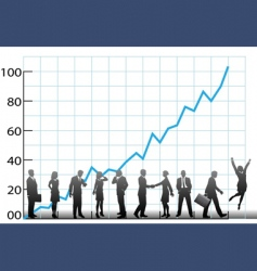 business team chart company growth vector image vector image