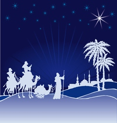 Classic three magic scene wisemen vector