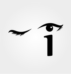 Eye winking with letter i forming the eyeball vector image