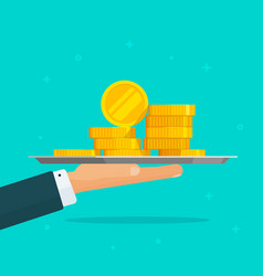 hand giving money flat carton vector image vector image