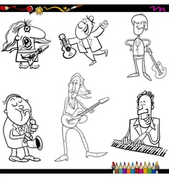 musicians cartoon coloring page vector image vector image