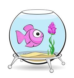 pink fish in fishbowl vector image