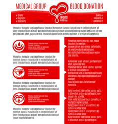 poster for blood donation medical group vector image vector image