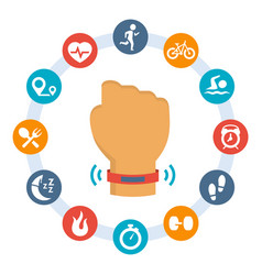 Activity tracker-band and set related icons vector