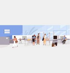 Airport guards checking and controlling people vector
