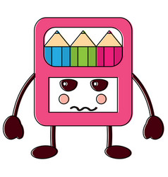 angry colored pencils box school supplies kawaii vector image