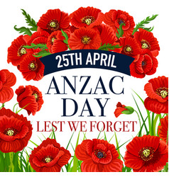 anzac day 25 april poppy greeting card vector image