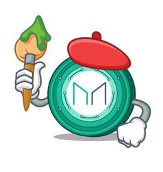 Artist maker coin character cartoon vector