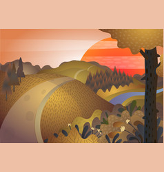 autumn landscape road and hills at sunset vector image